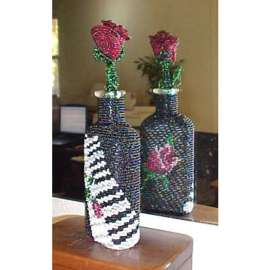 Beaded Piano Rose Bottle