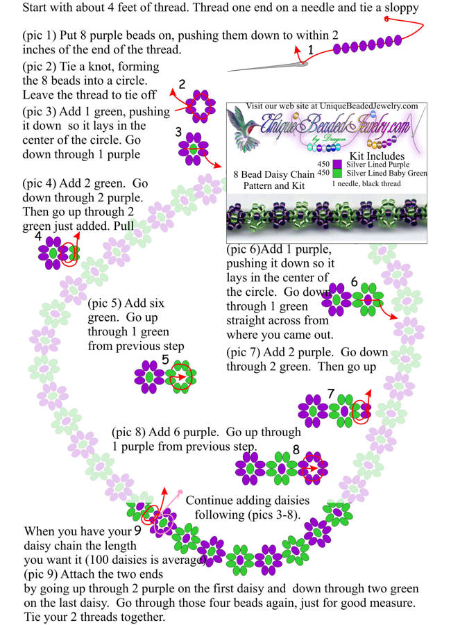 Free Daisy Chain 8 Bead Necklace Pattern.Wait for it to load before