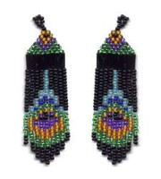 Beaded Peacock Feather Fringe Earrings Pattern