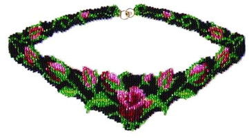 Rose Garden Weave Necklave Beading Pattern and kit information.